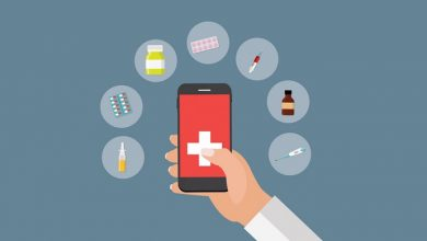 Mobile Apps Concept of Online Treatment and Health care in Moder